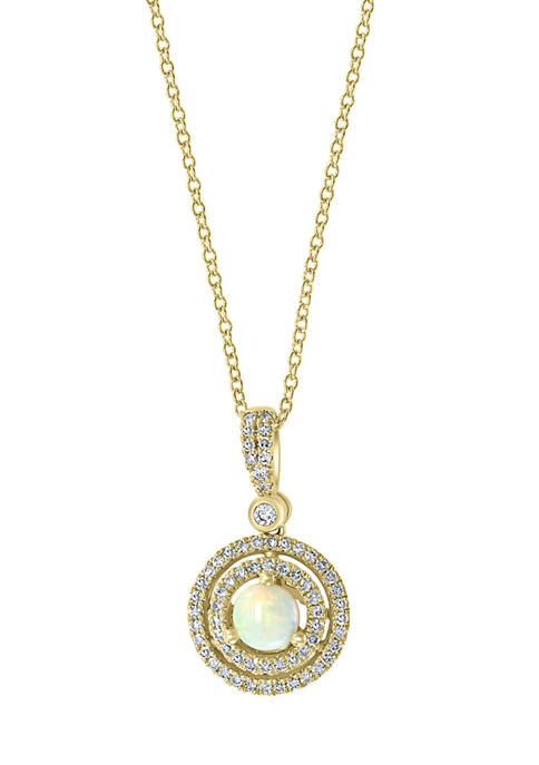 1/4 ct. t.w. Diamond and 1/3 ct. t.w. Opal Pendant in 14K Yellow Gold