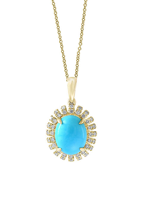 Effy® 14K Yellow Gold Diamond Turquoise Pendant Necklace