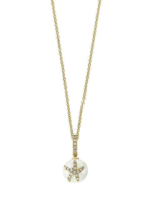 Fresh Water Pearl and 1/10 ct. t.w. Diamond Starfish Pendant Necklace in 14k Yellow Gold