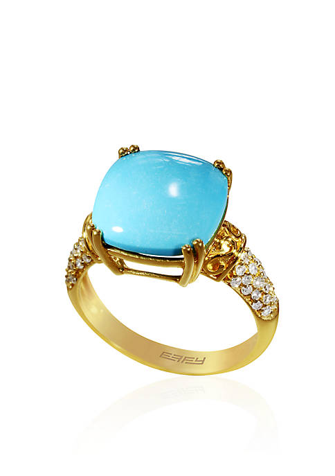 Effy® Cushion Turquoise with Diamonds Ring in 14k