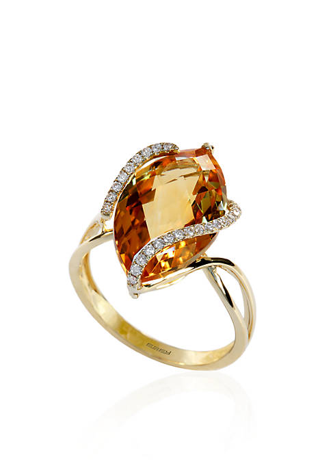 Effy® Citrine and Diamond Ring in 14k Yellow