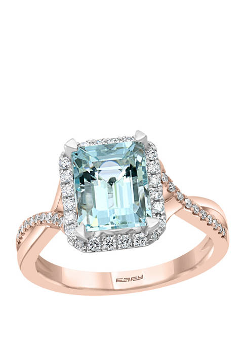 1/4 ct. t.w. Diamond and 2.23 ct. t.w. Aquamarine Ring in 14K Rose Gold