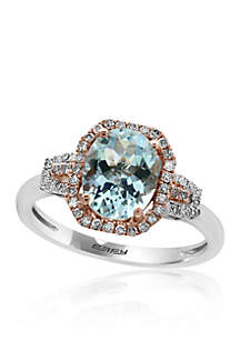 Aquamarine & Diamond Ring in 14K White & Rose Gold