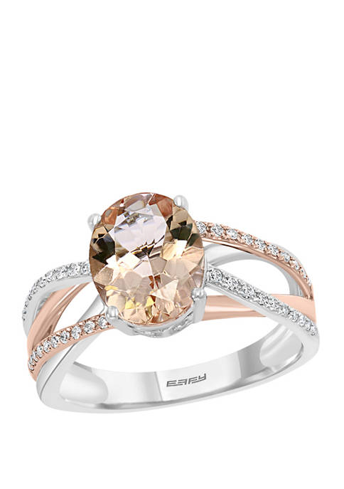 1/6 ct. t.w. Diamond and 2.35 ct. t.w. Morganite Ring in 14K Two Tone Gold