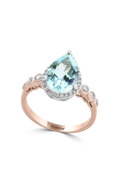 Effy® 14K Rose Gold Aquamarine And Diamond Ring