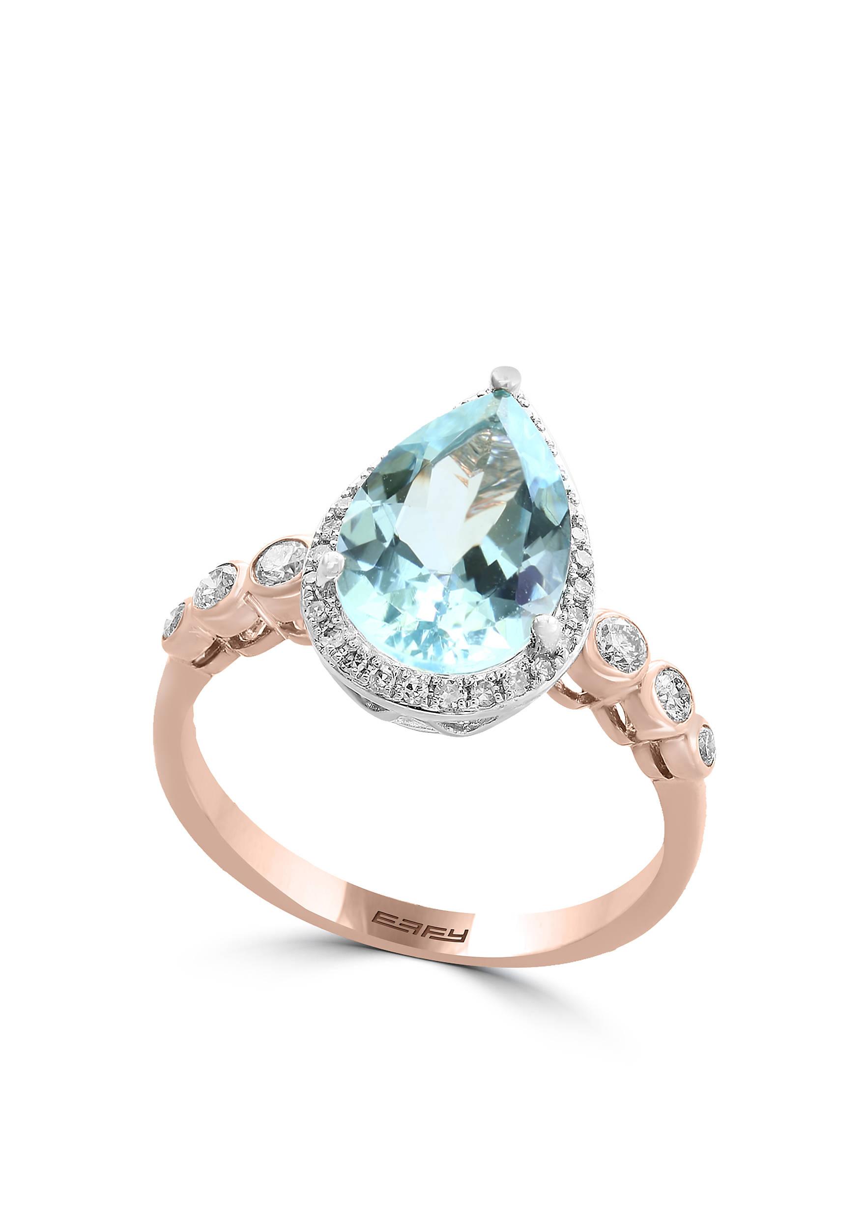 Effy® Opal, Diamond, and Espresso Diamond Ring in 14K Rose Gold | belk