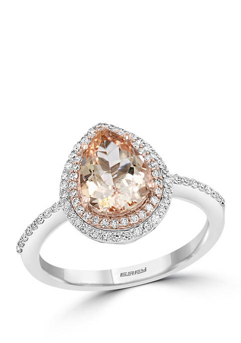 1/4 ct. t.w. Diamond and 1.5 ct. t.w. Morganite Ring in 14K Rose Gold