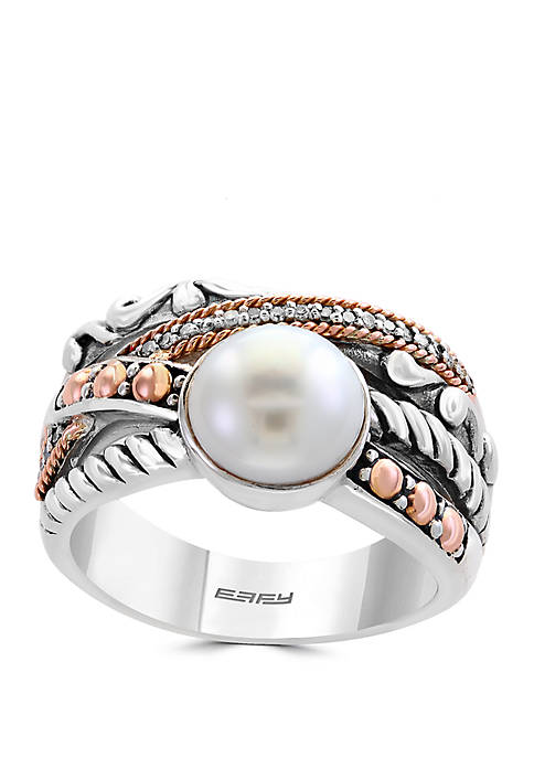 Freshwater Pearl Ring in Sterling Silver and 18k Rose Gold
