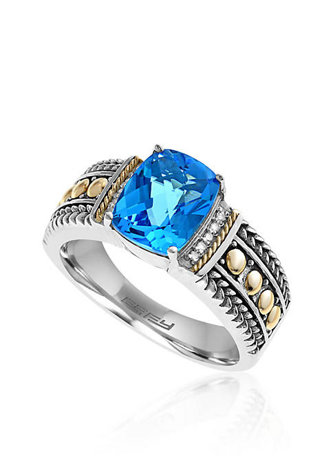 Topaz and Diamond Ring in Sterling Silver and 18K Yellow Gold