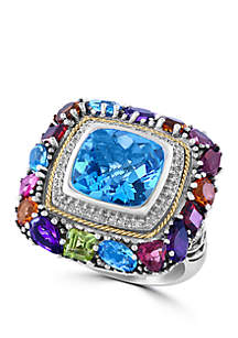 Effy® Amethyst, Blue Topaz, Citrine, Garnet, Pink Tourmaline, Peridot Ring in Sterling Silver/18k Yellow Gold