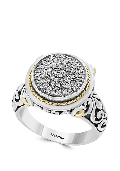 1/5 ct. t.w. Diamond Ring in 925 Sterling Silver and 18k Yellow Gold