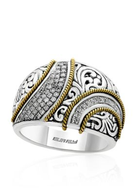 Effy Women 0.29 Ct. T.W. Diamond Band In Sterling Silver And 18K Yellow Gold - Gray - 7