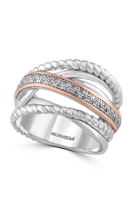 Silver-Tone Diamond Rope Band Ring