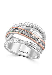 Effy® Silver-Tone Diamond Rope Band Ring