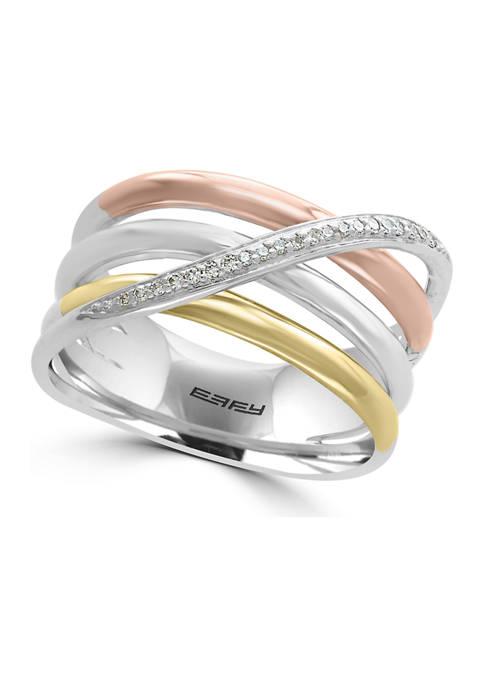 Effy® 1/10 ct. t.w. Diamond Sterling Silver Tri-Color