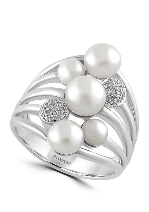 Effy® Freshwater Pearl and 1/10 ct. t.w. Diamond