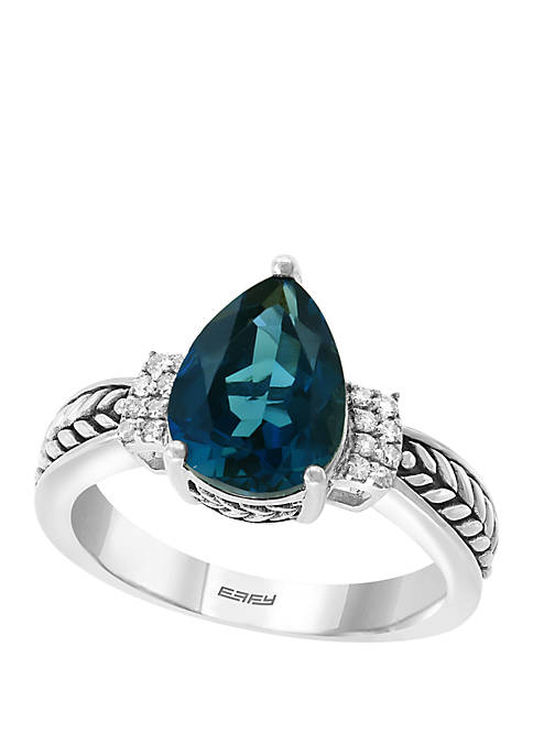 1/10 ct. t.w. Diamond and London Blue Ring in Sterling Silver
