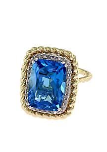 14K White And Yellow Gold Diamond Blue Topaz Ring