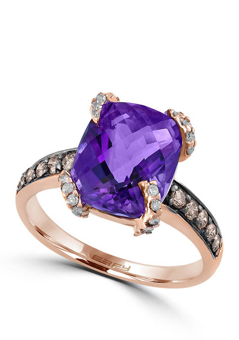 1/3 ct. t.w. White and Brown Diamonds and 3.8 ct. t.w. Amethyst Ring in 14K Rose Gold