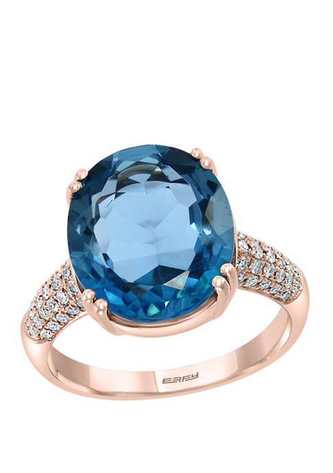 1/4 ct. t.w. Diamond and 9.1 ct. t.w. London Blue Topaz Ring in 14K Rose Gold