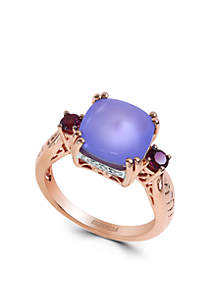 14K Rose Gold Diamond Chalcedony And Rhodolite Ring