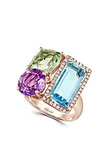 14k Rose Gold Diamond, Amethyst, Green Amethyst, Blue Topaz Ring