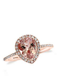 14k Rose Gold Diamond Morganite Ring