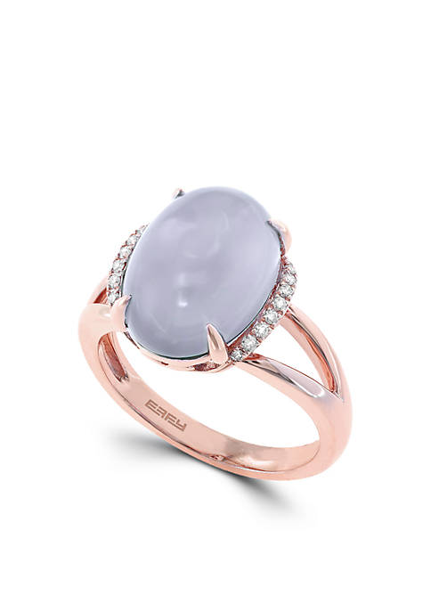 14K Rose Gold Diamond And Chalcedony Ring