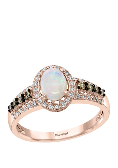 1/3 ct. t.w. White and Espresso Diamond and 1/2 ct. t.w. Opal Ring in 14K Rose Gold