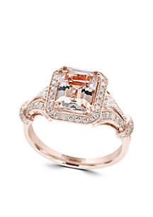 Morganite & Diamond Ring in 14K Rose Gold