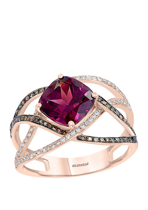 3/8 ct. t.w. White and Espresso Diamond and 2.65 ct. t.w. Rhodolite Ring in 14K Rose Gold