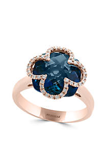 8.40 ct. t.w. London Blue Topaz and 1/8 ct. t.w. Diamond Ring in 14k Rose Gold