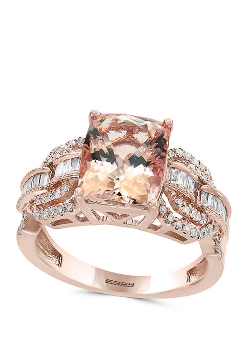 3/8 ct. t.w. Diamond and 2.6 ct. t.w. Morganite Ring in 14K Rose Gold