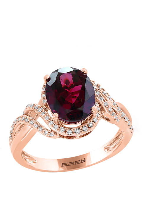 1/4 ct. t.w. Diamond and 2.9 ct. t.w. Rhodolite Ring in 14K Rose Gold