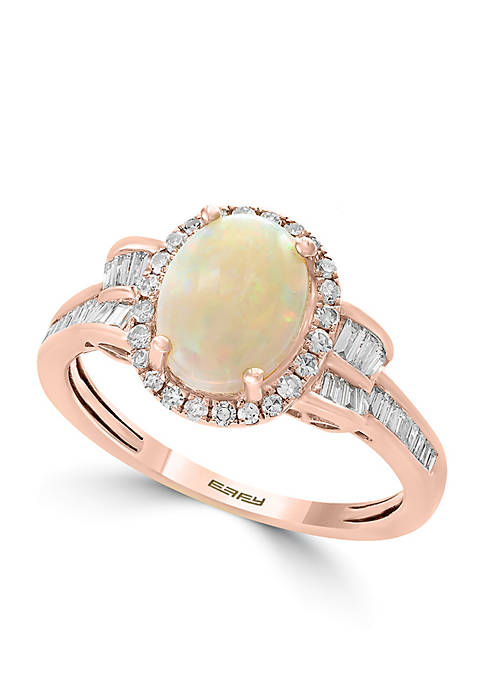 Effy® 14k Rose Gold Diamond Opal Ring