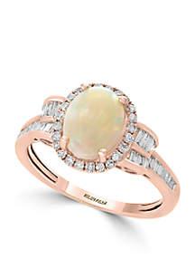 14k Rose Gold Diamond Opal Ring