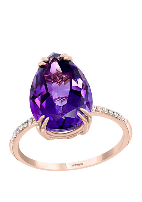 1/10 ct. t.w. Diamond and 5.18 ct. t.w. Amethyst Ring in 14K Rose Gold