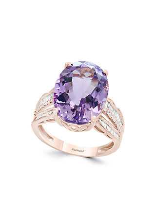 dd2cc1384e1e2 3/8 ct. t.w. Diamond and Pink Amethyst Ring in 14k Rose Gold