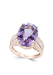3/8 ct. t.w. Diamond and Pink Amethyst Ring in 14k Rose Gold