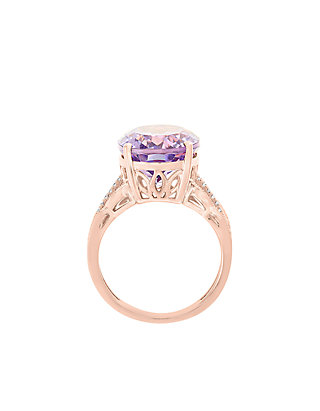 4b047530f Effy® 3/8 ct. t.w. Diamond and Pink Amethyst Ring in 14k Rose Gold ...