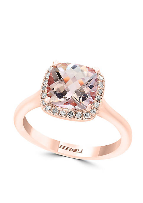 Effy® 14K Rose-Gold Diamond Morganite Ring