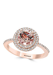 14K Rose-Gold Diamond Morganite Ring