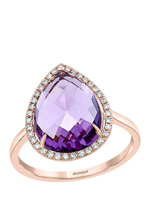 4.04 ct. t.w. Amethyst and 1.8 ct. t.w. Diamond Ring in 14K Rose Gold