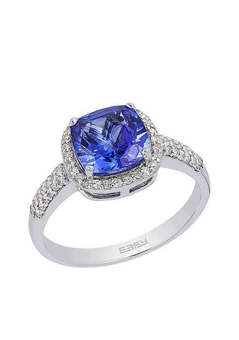 Effy® 14K White Gold Tanzanite And Diamond Ring