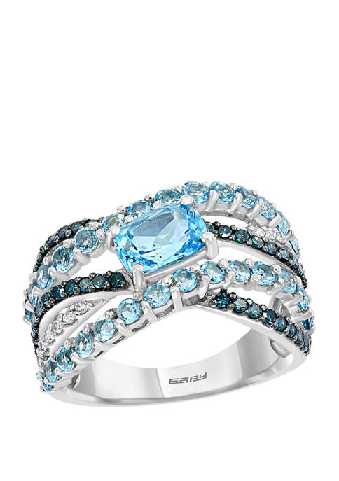 1/3 ct. t.w. White and Blue Diamond and 2.25 ct. t.w. Blue Topaz Ring in 14K White Gold
