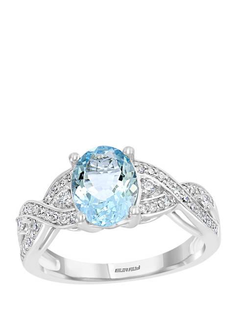 1/4 ct. t.w. Diamond and 1.7 ct. t.w. Aquamarine Ring in 14K White Gold