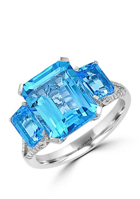 1/8 ct. t.w. Diamond and 8.3 ct. t.w. Blue Topaz Ring in 14K White Gold