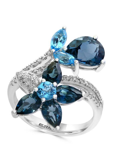 1/5 ct. t.w. Diamond and 5.3 ct. t.w. Blue Topaz Ring in 14K White Gold