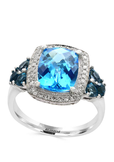 1/8 ct. t.w. Diamond and 4.05 ct. t.w. Blue and London Blue Topaz Ring in 14K White Gold