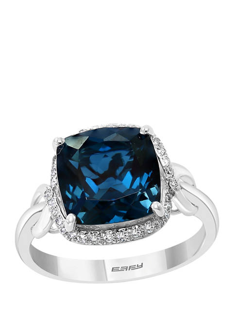 1/8 ct. t.w. Diamond and 6.7 ct. t.w. London Blue Topaz Ring in 14K White Gold